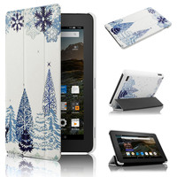 For Amazon Kindle Fire 7 Ultra Slim PU Leather Magnetic Case with Forest picture