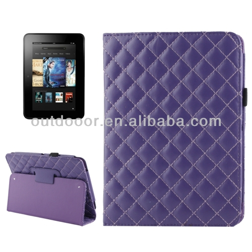 Diamond Pattern Leather Case with Holder for Kindle Fire HD