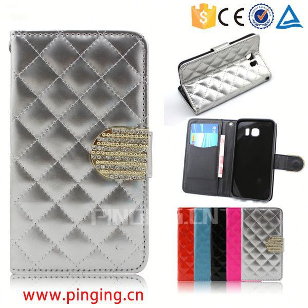 Elegant Diamond magnetic grid square Lady Wallet Leather Phone Case for Acer Liquid Z520 with a rope