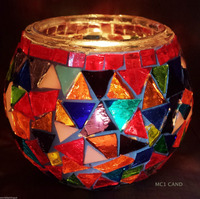 multi-color/mosaic glass candle holder/glass gift for home decoration