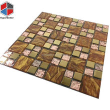 Gold foil mix glass golden wood grain mosaic for wholesale