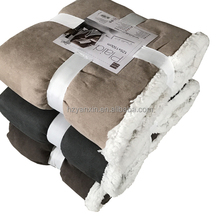 Fluffy patchwork 100% polyester solid suede soft sherpa plush throw Blanket