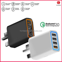 Top quality PVC fireproof material Qualcomm certified 4-port Quick Charge 2.0 Wall USB Charger EU/US/UK/AU plug