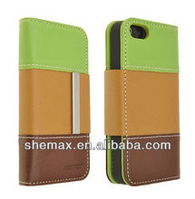 Three Color Tri-Color Wallet PU Leather Book Flip ID Card Case Folio Cover for iPhone 5