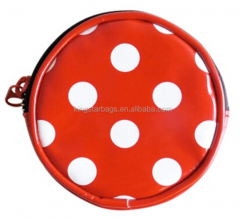 Round PU leather beauty makeup cosmetic bag with customized printing