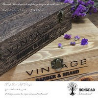 HONGDAO Paulownia wood packaging boxes with flocking liner, vintage style wood packaging box