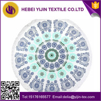 Hot selling large printed woven Terry Round Beach Towel with tassels 150m