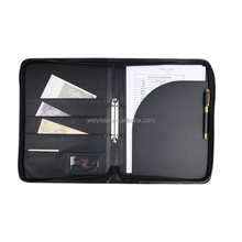 Zipped a4 clip leather briefcase file folder folios