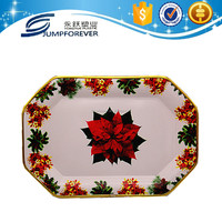 Hot sale factory cheap price christmas red flower design plastic tray