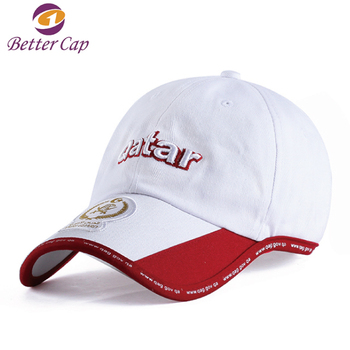 Qatar high quality design your own logo customize 3D embroidery pre-curved brim cap hat