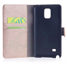 OEM Factory Mobile Phone Leather Wallet Case for Samsung note 4 with Two Card Slots