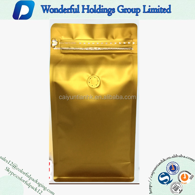 2016 New Style Matte Gold Coffee Bean/ Ground Coffee Flat Bottom Zip Lock Custom Printed Foil Bags