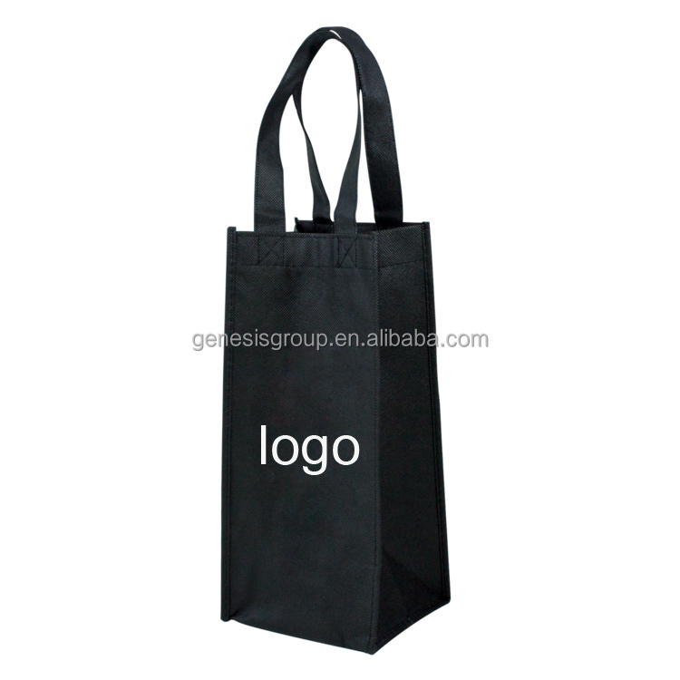 Wholesale Customized Reusable Eco Shopping Single Bottle Wine Tote bags
