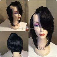 Short hair Peruvian human hair u part wig white women lace wigs