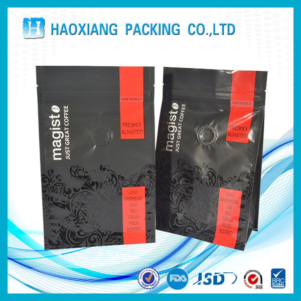 Food grade tea snack coffee packaging flat bottom plastic bag valve for 200g