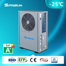 Europe -25C winter usage heat pump room heater auto-defrost high cop air source EVI heat pump with DHW function