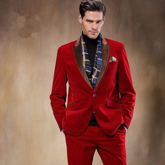 Online Shop 2018 Latest Coat Pant Designs Red Velvet Suits Men ...