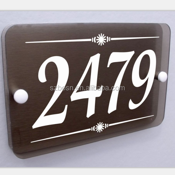 modern stylish smoke acrylic Aluminum plastic board house door number sign wall plaque