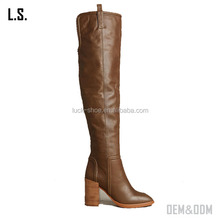 High quality brown cow leather women boots for wholesale