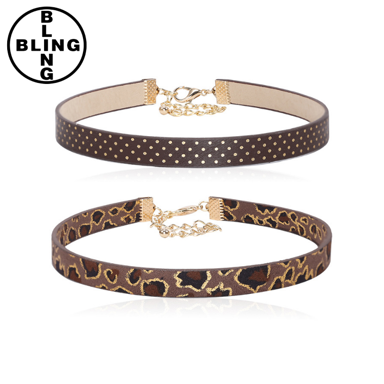 >>>2017 spring new pu necklace Europe and the United States simple choker necklace leopard pattern spotted collar