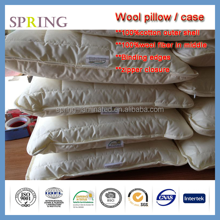 Washable Wool Pillow with Quilted Outer Pillow case