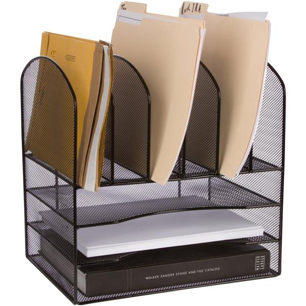 Black Wire Mesh Office Desktop File Organizer