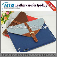 Fashion leather jean case for ipad 2 3 with nice belt, leather bag for ipad 2