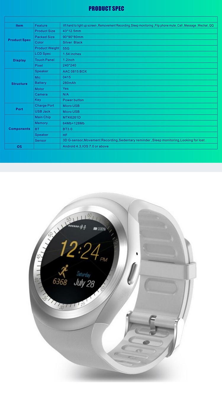 Y1 MTK6261D cpu 1.54 inch capacitive TN screen bluetooth 3.0 metal frame nano sim card slot phone calling smart watch