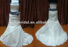 2012 newest pleat taffeta with blue sash bridal gown wedding dress