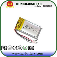 2015 years hot sale 602035 400mah lipo batteries 552535 400mah lithium polymer 3.7v 400mah li-ion rechargeable batteries