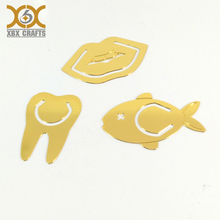 Custom laser cutting metal brass teeth fish shape bookmark