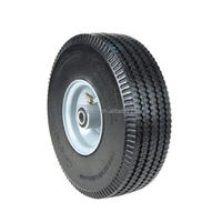 EL-910 small flat free rubber wheels 10 inch for wheelbarrow hand trolley