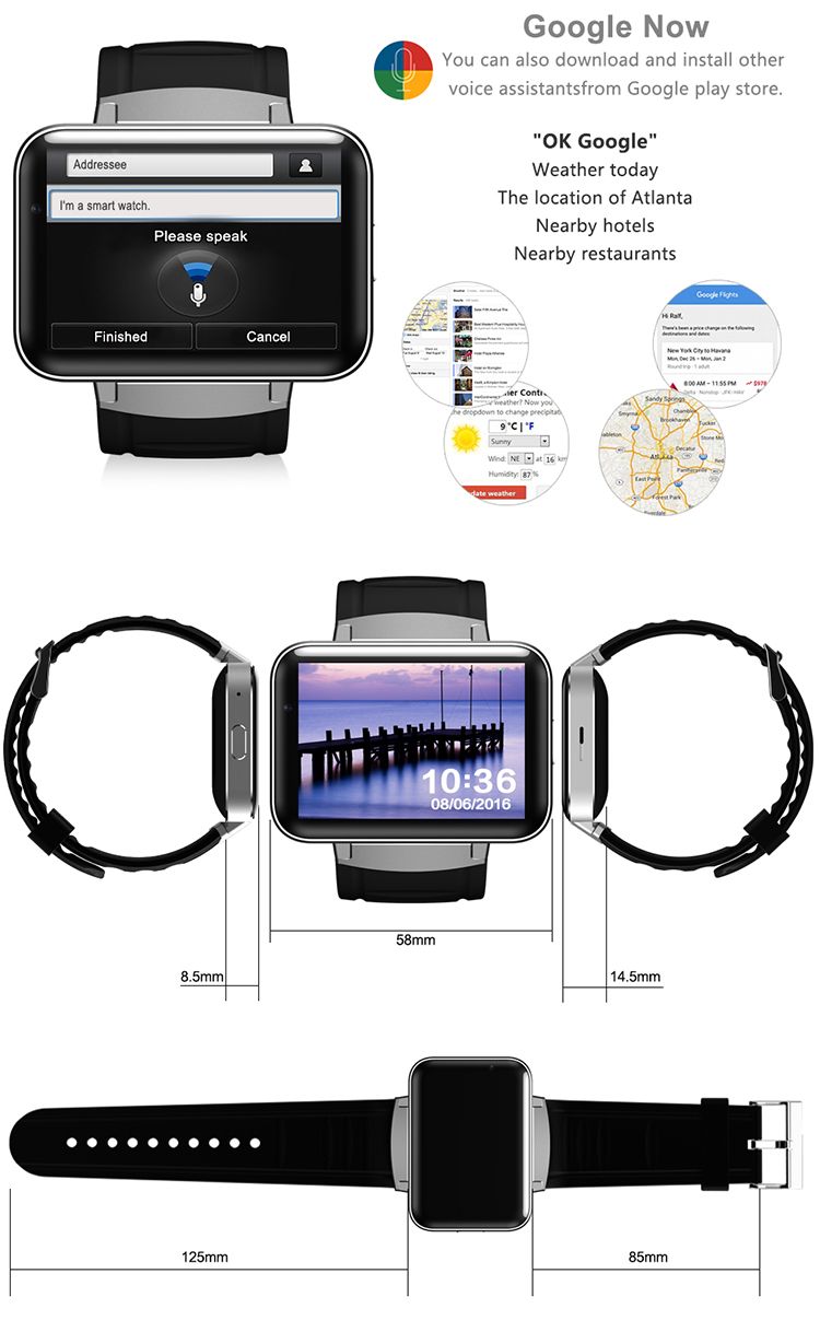 3G wifi gps watch DM98 2.2inch capacitive touch display 130w camera Android 4.4 BT iLepo watch