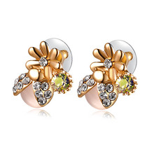 Flower opal wooden african gold ear top design wedding earring stud