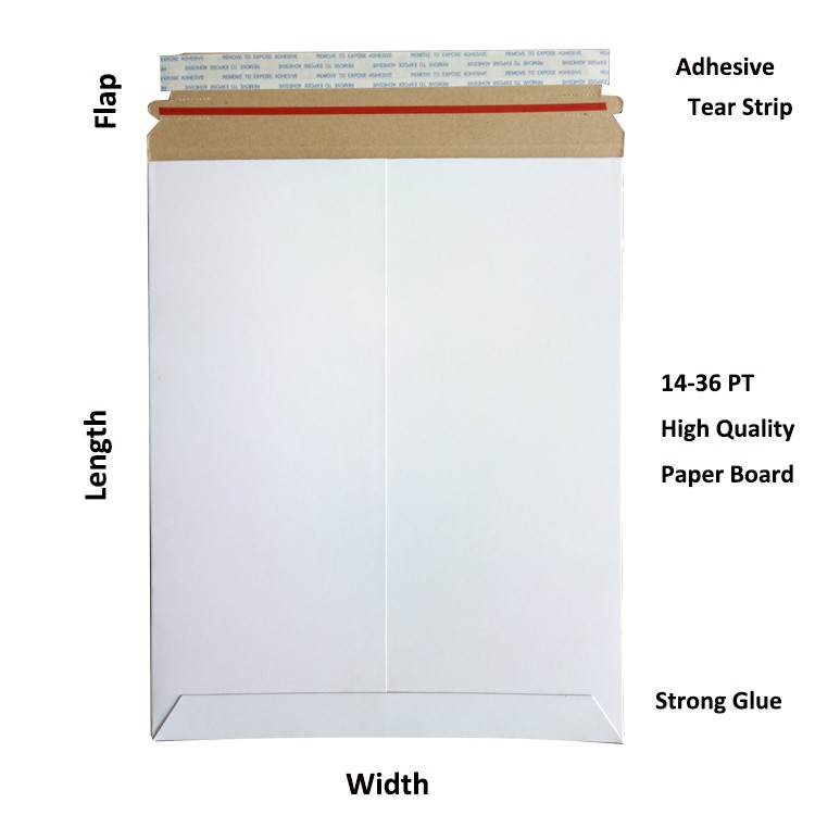 7*9 inch white outside and brown inside cardboard mailer envelopes