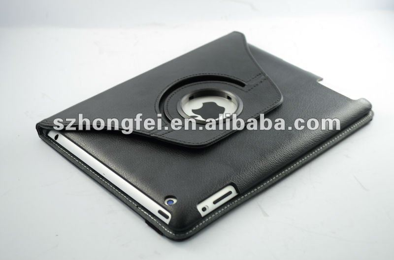 Brief design 360 degree rotary leather case for ipad3