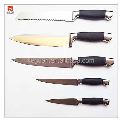 DK-041 5 pcs high quality hot sale hollow handle stainless steel obsidian kitchen knife
