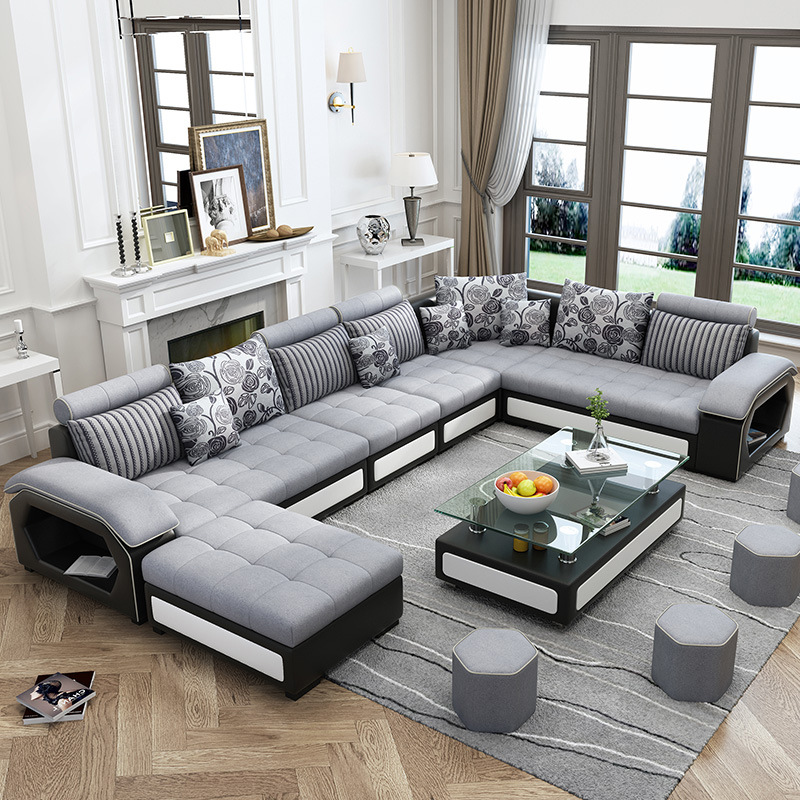 Guandong Factory Sales Wholesale U Shaped Leather Fabric Living Room