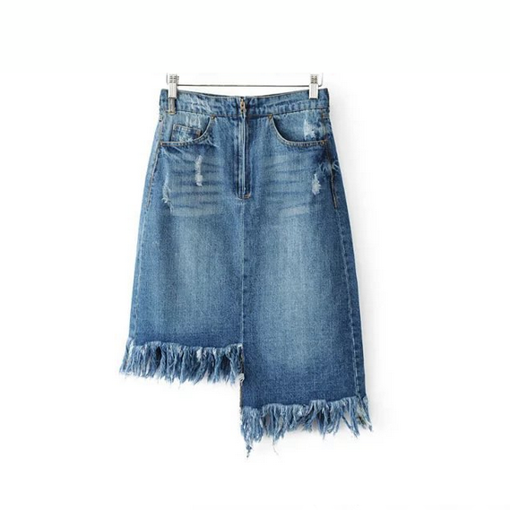 fashion high waist irregular burr girls denim skirt