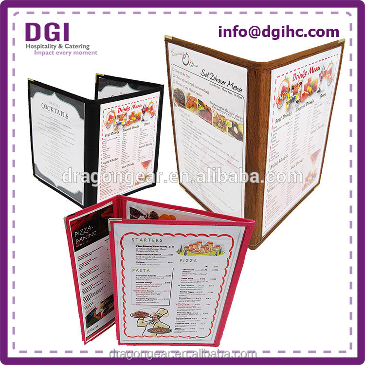 High quality soft pu leather china supplier menu case for size 27x41 inches