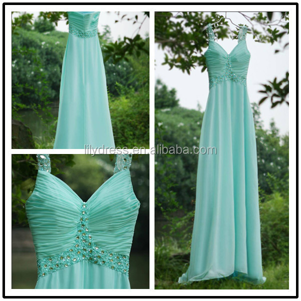 Blue Sweetheart Neckline Floor Length Customized Chiffon Dress for Bridal Maid BM006 made to order bridesmaid dresses china