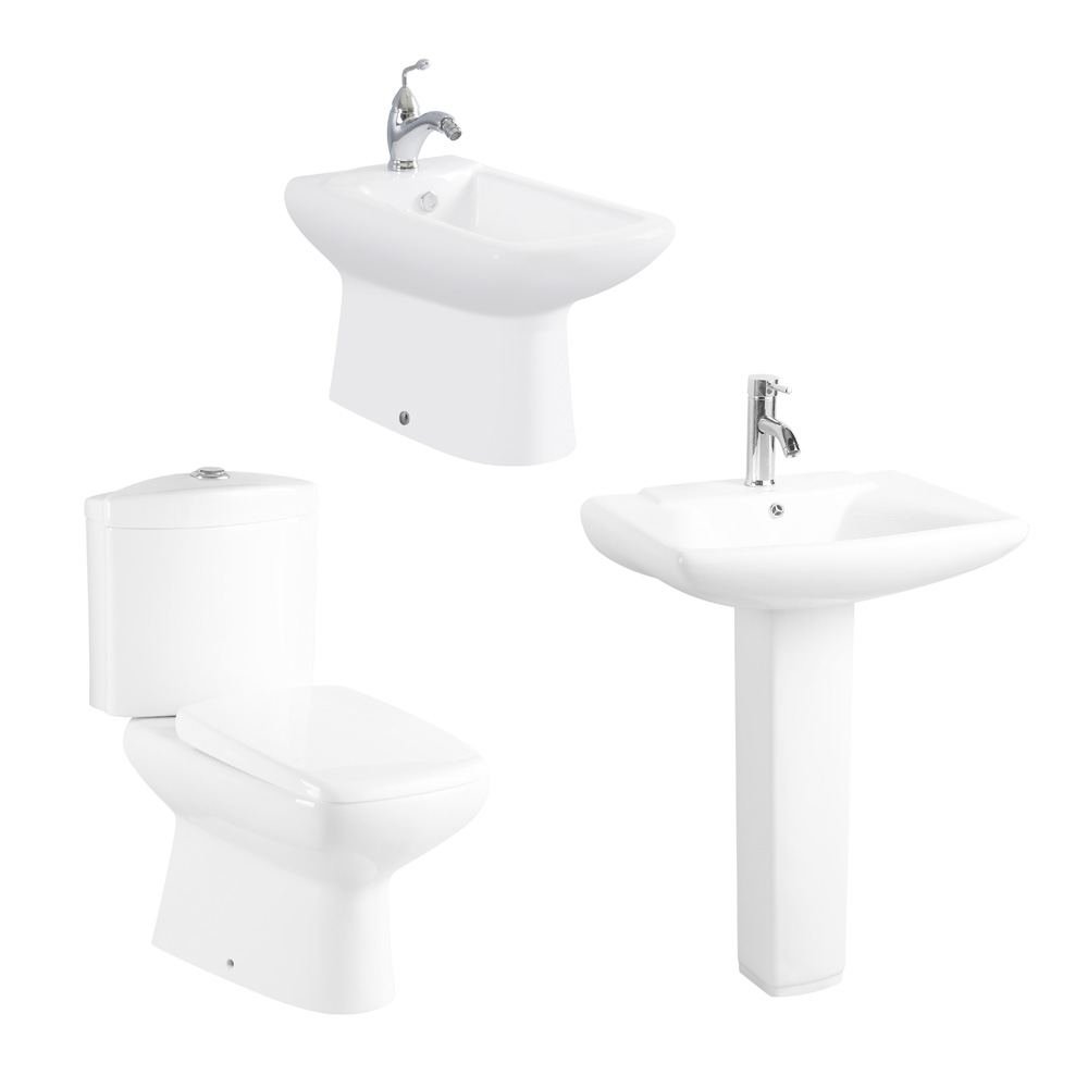 Bath sink and toilet with bidet 3 pc bathroom sets - MUCCI