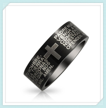 Custom english/spanish bible cross scripture engraved black plated stainless steel bible rings for men