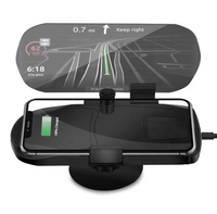 2 In 1 HUD Car Wireless Charger And Receiver Car Mobile Phone GPS Navigation Holder Projector Bracket Support QI Charging