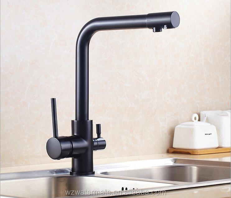 BLACK Three 3 Way Kitchen Purifier Faucets with Pure Water Flow Filter Tap WM5001B