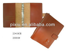 Handmade brown genuine leather hard cover file folder