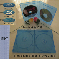 5mm bluray double dvd case with Print Blu-ray logo