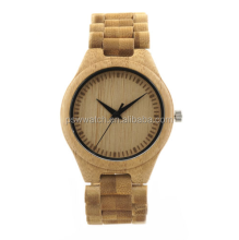 Luxury design carved logo and hours natural bamboo wood watch for men and women