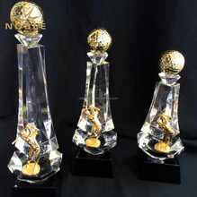 Wholesale Different Size Metal Crystal Golf Ball Trophy Awards