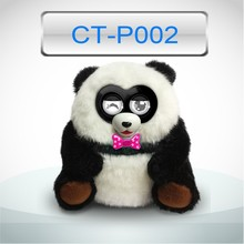 Clever electronic plush toy with LED eyes for children, panda toy for kids
